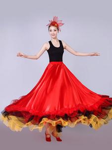Saia De Dança 2020 De Flamenco Em Camadas Vermelho Longo Paso Doble Traje De Dança Halloween
