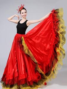 Espanhol Paso Doble Gypsy Flamenco Salão de baile Dança Dancewear Ruffled Completa Swing Saias Trajes Halloween
