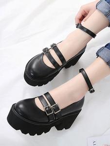 Lolita clássico calçado metálico fivela plataforma preto Lolita sapatos