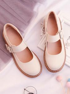 Dolci scarpe Lolita Calzature Lolita allacciate con punta rotonda in pelle bovina