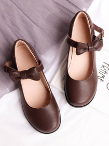 Doce Lolita Mary Jane Sapatos Arco Dedo Redondo PU Lolita Bomba