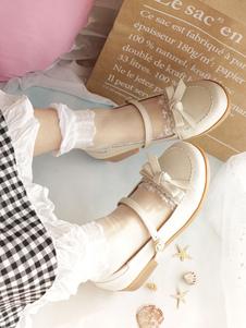 Lolita doce sapatos de couro Bowknot Ecru branco Lolita bomba