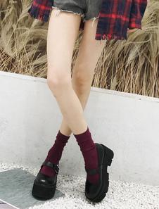 الكلاسيكية لوليتا أحذية سوداء جولة تو بو منصة لوليتا الأحذية
