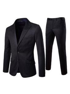 Мужская деловая одежда из хлопка черного пика с отворотом и с брюками
