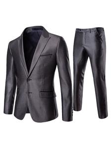 2 peça vestido terno homens repicado lapela dois botão cinza blazer com calça de vestido