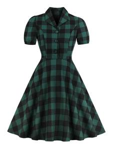 Vestido xadrez vintage manga curta Turndwon Collar botões xadrez vestido retrô