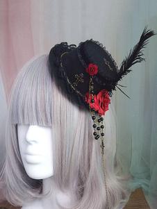 Gothic Lolita Accessorio per capelli Flower Pearl Chain Feather Black Lolita Hat