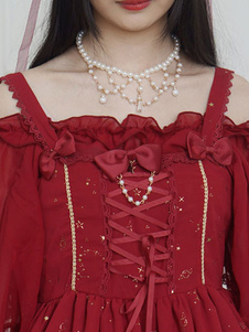 Collana Lolita classica con strati di perle Ecru Bianco Lolita Accessorio