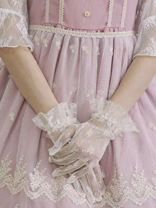 لوليتا قفاز الزفاف الرباط الزهور الكشكشة الأبيض لوليتا القفاز