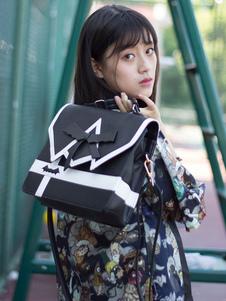 Mochila clásica de Lolita con diseño de murciélago en forma de arco Dos tonos PU convertible Mochila de Lolita