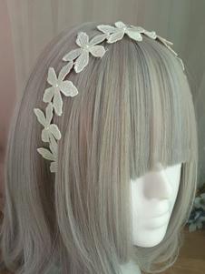 Sweet Lolita Headband Floral Pearl Ricamato Ecru White Lolita Accessorio per capelli