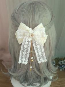 Dolce Lolita Hair Clasp Lace Bow Perla Ricamato Accessorio per capelli Lolita bianco ecru