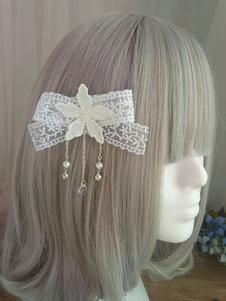 Sweet Lolita Clip per capelli Floral Lace Pearl Ricamato Ecru White Lolita Accessorio per capelli