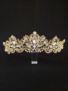 Princess Tiara Coroa Bridal Headpieces Gold Rhinestones Acessórios Para Cabelo De Casamento Real