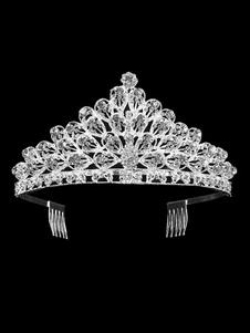 Casamento Tiara Princesa Coroa de Prata Nupcial Headpieces Strass Reais Acessórios Para o Cabelo