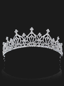 تاج الزفاف تاج الأميرة فضة أغطية الرأس الراين ملحقات الشعر الملكي