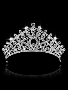 Tiara de casamento nupcial coroa de prata princesa headpieces strass reais acessórios para o cabelo