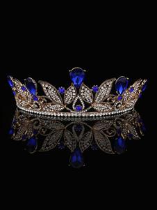 Casamento Tiara Princesa Coroa De Noiva Headpieces Strass Azul Royal Acessórios Para o Cabelo