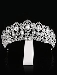 عرس تيارا فضة الأميرة تاج الزفاف أغطية الرأس الراين ملحقات الشعر الملكي