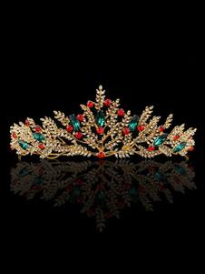 Coroa De Casamento De Ouro Princesa Tiara Noivas Headpieces Strass Reais Acessórios Para o Cabelo