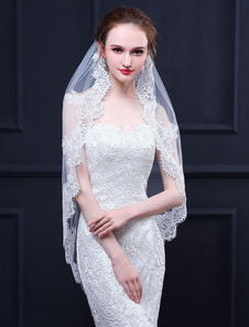 Wedding Veil Comb Oval Ecru White Tulle Lace Applique Accesorios de novia de un nivel