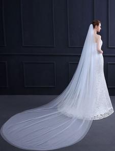 تول الزفاف الحجاب مشط كاتدرائية طويلة شلال وايت اثنين من اكسسوارات الزفاف