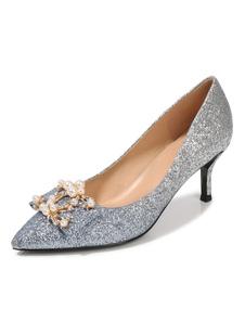Glitter Prom Sapatos de Prata Dedo Apontado Pérolas Strass Deslizamento Em Sapatos de Festa Mulheres de Salto Alto