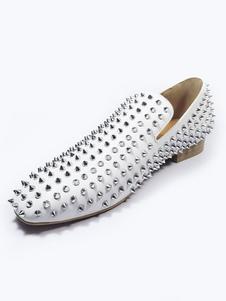 Обувь для выпускного для мужчин Белые круглые заклепки с открытым носком на лоферах Классическая обувь