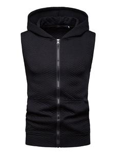 Sudadera con capucha sin mangas con cremallera Negro Patrón de diamante Sudadera con capucha de algodón para hombres