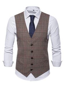 Homens colete marrom V Neck Verifique do país de Gales Príncipe Button Up Suit Vest