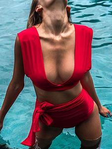 Costume da bagno bikini 2020 donna Sexy Swimwear rosso annodato in due pezzi