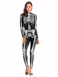 Carnaval Traje de traje de cosplay de Fortnite Skull Trooper Halloween para mujer