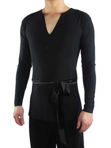 Trajes da dança das camisas do decote em V dos homens da parte superior da dança do latino do preto Halloween