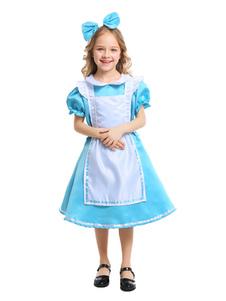 عيد الرعبأطفال أليس العجائب زي هالوين الأزرق والأبيض فساتين