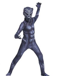 O traje da pantera preta da maravilha caçoa trajes do músculo do Spandex de Lycra do Dia das Bruxas dos meninos Halloween