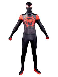 Костюмы Зентаи для всего тела Супергерои Взрослый человек-паук Косплей Костюмы Черные комбинезоны с лайкрой и капюшоном Хэллоуин