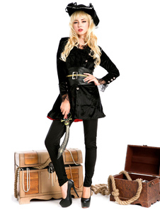 Disfraz Carnaval Disfraz de pirata de Halloween para mujer Sombrero negro Top Sash Outfit Carnaval