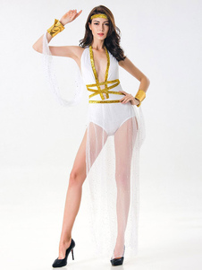 Costume Carnevale Vestito sexy bianco delle tute delle donne di Halloween del costume della dea greca