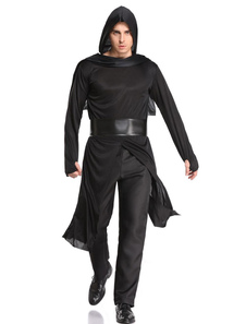 Homens Ninja Warrior Master Traje Preto Outfit Halloween