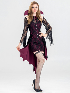 Vampire Costume Halloween Mulheres Sexy Lace Dresses Set