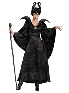 Maleficent Costume Women Black Adult Witch Dresses E Headpieces O Dia Das Bruxas