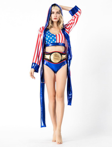 Mulheres Boxer Costume Halloween Striped Sexy Outfit