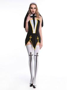 Disfraz Carnaval Disfraz de Halloween 2020 Monja Sexy Mujer Traje Carnaval