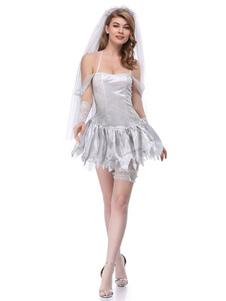 Traje de noiva cadáver halloween mulheres sexy vestidos curtos roupa