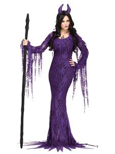 Vestidos e headpieces maus do laço do vampiro das mulheres da rainha do traje do Dia das Bruxas Halloween