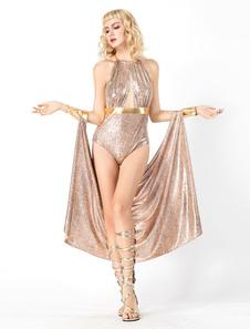 Costume Carnevale Set di tute da ragazza di spettacolo sexy con paillette della dea greca  Costume Carnevale