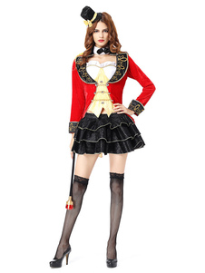 Mulheres Magician Costume Halloween Red Outfit