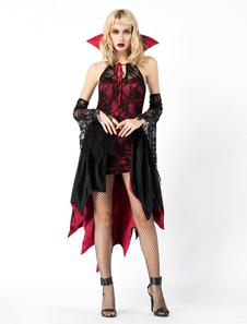 Costume Carnevale Set di abiti alti basso di Halloween Witch Costume Carnevale