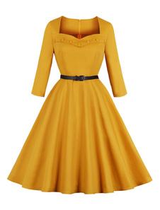 Vestido vintage amarelo 1950s querida pescoço botões Retro Midi vestido com cinto