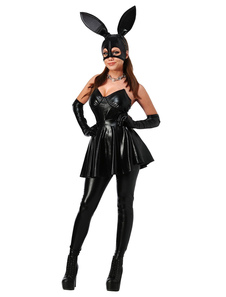 Sexy Bunny Costume Halloween PU Mulheres Saloon Girl Dresses Set
